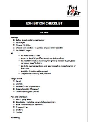 EXPO CHECKLIST